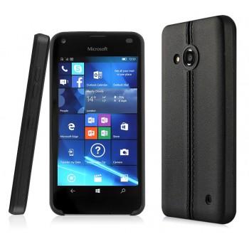 Силиконовый матовый непрозрачный чехол текстура Кожа для Microsoft Lumia 550