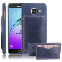 Дизайнерский чехол накладка с текстурным покрытием Кожа и отделением для карты/подставкой для Samsung Galaxy A3 (2016) Синий