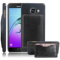Дизайнерский чехол накладка с текстурным покрытием Кожа и отделением для карты/подставкой для Samsung Galaxy A3 (2016) Черный