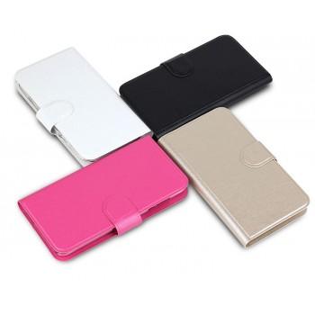 Чехол портмоне подставка на пластиковой основе с отделением для карт и магнитной застёжкой для Huawei Y5c