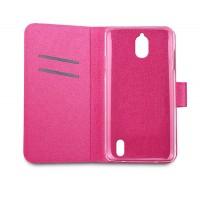 Чехол флип на пластиковой основе с отделением для карт с магнитной застёжкой текстура Металлик для Huawei Y625 Розовый