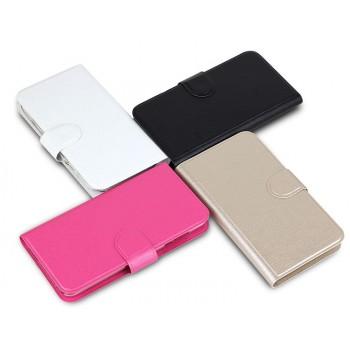 Чехол флип на пластиковой основе с отделением для карт с магнитной застёжкой текстура Металлик для Huawei Y625