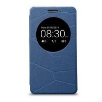 Текстурный чехол флип-подставка с окном вызова для ASUS Zenfone 5 Синий