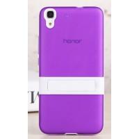 Двухкомпонентный силиконовый чехол с пластиковым бампером-подставкой для Huawei Y6 Фиолетовый