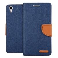 Чехол портмоне подставка с защелкой и тканевым покрытием для Huawei Y6 Синий
