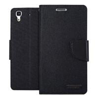 Чехол портмоне подставка с защелкой и тканевым покрытием для Huawei Y6 Черный