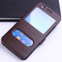 Кожаный чехол флип подставка на пластиковой основе с окном вызова и свайпом с магнитной защёлкой для Huawei Y6 Коричневый