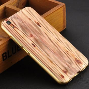 Двухкомпонентный чехол с металлическим бампером и поликарбонатной накладкой с текстурой Дерево для Huawei Y6