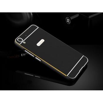 Двухкомпонентный чехол с металлическим бампером и поликарбонатной накладкой с золотой окантовкой для Huawei Y6