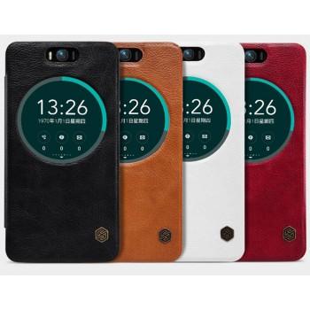 Чехол флип с окном вызова и текстурой Кожа для ASUS Zenfone Selfie