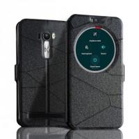 Чехол флип подставка текстурный с окном вызова для ASUS Zenfone Selfie Черный
