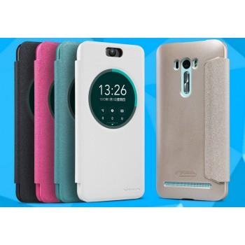 Чехол флип на пластиковой матовой нескользящей премиум основе с окном вызова для ASUS Zenfone Selfie