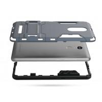Антиударный гибридный силиконовый чехол с поликарбонатной крышкой и встроенной ножкой-подставкой для Xiaomi RedMi Note 3 Серый