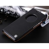 Кожаный чехол флип-подставка с окном вызова для ASUS Zenfone 6 Черный