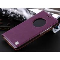 Кожаный чехол флип-подставка с окном вызова для ASUS Zenfone 6 Фиолетовый