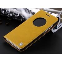 Кожаный чехол флип-подставка с окном вызова для ASUS Zenfone 6 Желтый