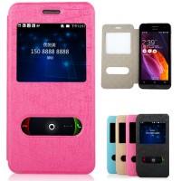 Чехол флип со свайпом и окном вызова для ASUS Zenfone 6 Розовый
