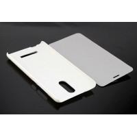 Чехол флип подставка на пластиковой основе для Xiaomi RedMi Note 3 Белый