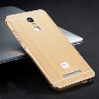 Двухкомпонентный чехол с металлическим бампером и поликарбонатной накладкой текстура Металл для Xiaomi RedMi Note 3