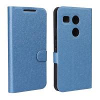 Текстурный чехол флип подставка на силиконовой основе с отделением для карт для Google LG Nexus 5X Голубой