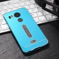 Двухкомпонентный чехол с металлическим бампером и поликарбонатной накладкой для Google LG Nexus 5X Голубой