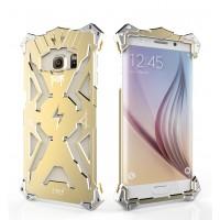 Металлический винтовой чехол повышенной защиты для Samsung Galaxy S6 Edge Plus Бежевый