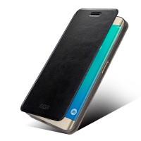 Водоотталкивающий чехол флип подставка на силиконовой основе для Samsung Galaxy S6 Edge Plus Черный