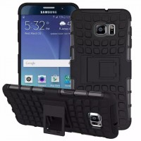 Антиударный гибридный силиконовый чехол с поликарбонатной крышкой и встроенной ножкой-подставкой для Samsung Galaxy S6 Edge Plus Черный