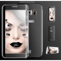 Двухмодульный чехол флип с транспарентной акриловой крышкой со свайпом текстура Металл для Samsung Galaxy S6 Edge Plus