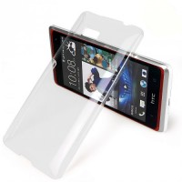 Пластиковый транспарентный олеофобный премиум чехол HTC Desire 600
