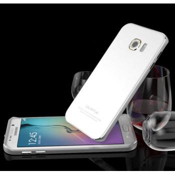 Гибридный двухкомпонентный чехол с металлическим бампером и закаленной стеклянной накладкой для Samsung Galaxy S6 Edge Plus