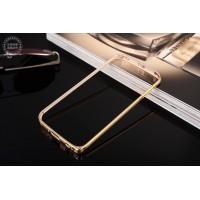 Металлический бампер с золотой окантовкой для Samsung Galaxy S6 Edge Plus Бежевый