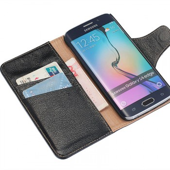 Кожаный чехол портмоне подставка на пластиковой основе с отсеком для карт и защелкой для Samsung Galaxy S6 Edge Plus