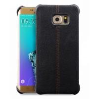 Кожаный чехол накладка (нат. кожа) для Samsung Galaxy S6 Edge Plus