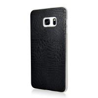 Силиконовый дизайнерский чехол текстура Змея для Samsung Galaxy S6 Edge Plus Черный