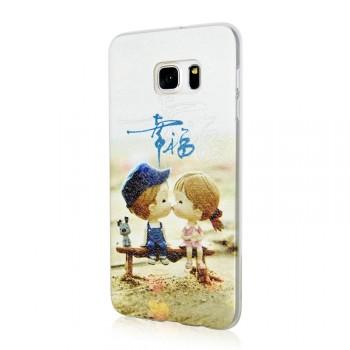 Силиконовый матовый дизайнерский чехол с принтом для Samsung Galaxy S6 Edge Plus