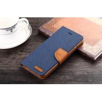 Текстурный чехол портмоне подставка на силиконовой основе с дизайнерской застежкой для Samsung Galaxy S6 Edge Plus Синий
