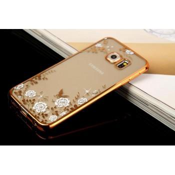 Силиконовый матовый дизайнерский чехол с принтом и аппликацией стразами для Samsung Galaxy S6 Edge Plus