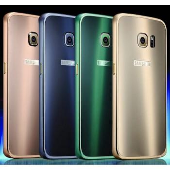 Двухкомпонентный чехол с металлическим бампером и акриловой накладкой для Samsung Galaxy S6 Edge Plus