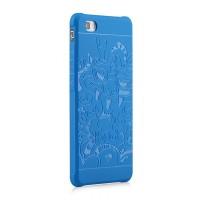 Силиконовый текстурный софт-тач премиум чехол для Huawei P8 Синий