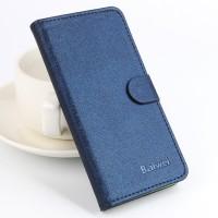 Чехол портмоне подставка на силиконовой основе с отделением для карт текстура Ткань для Microsoft Lumia 650 Синий