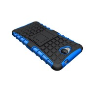 Антиударный гибридный силиконовый чехол с поликарбонатной крышкой и встроенной ножкой-подставкой для Microsoft Lumia 650 Синий