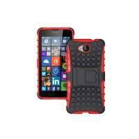 Антиударный гибридный силиконовый чехол с поликарбонатной крышкой и встроенной ножкой-подставкой для Microsoft Lumia 650 Красный