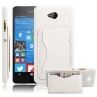 Дизайнерский чехол накладка с отделениями для карт и подставкой для Microsoft Lumia 650 Белый