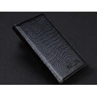 Кожаный чехол портмоне (нат. кожа крокодила) для Philips Xenium V787 Черный