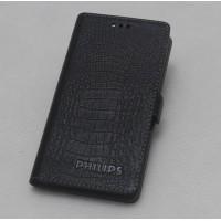Кожаный чехол горизонтальная книжка (нат. кожа крокодила) для Philips Xenium V787