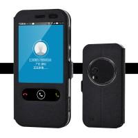 Чехол флип подставка на силиконовой основе с окном вызова и свайпом для Asus Zenfone Zoom Черный