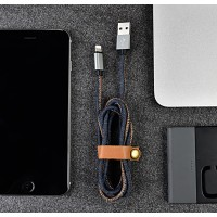 Зарядный кабель USB-lightning 1 м повышенной прочности с джинсовым покрытием для BQ Amsterdam (BQS-5505)