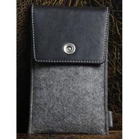 Дизайнерский чехол-мешок войлок/кожа с отделением для карт для OnePlus X Черный