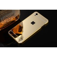 Двухкомпонентный чехол с металлическим бампером и поликарбонатной накладкой с зеркальным покрытием для OnePlus X Бежевый